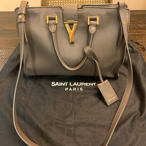 YSL Calfskin Leather Classic Cabas Y Bag, Taupe
